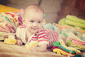 Happy Baby  With  Baby`s Wear Stock Images - 85160504