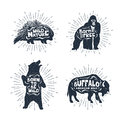 Set Of Hand Drawn Labels With Animals Vector Illustrations And L Royalty Free Stock Image - 85164216