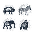 Set Of Hand Drawn Labels With Animals Vector Illustrations And L Royalty Free Stock Photography - 85170097