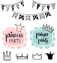 Princess Party Bridal Shower Card Design. Birthday Girl Lettering Quote Typography. Vector Design For Postcard, Poster, Graphics. Stock Image - 85170231
