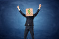 Businessman Wearing Cardboard Box With Drawn Dollar Sign On His Head Royalty Free Stock Photo - 85177995