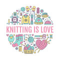 Knitting, Crochet, Hand Made Banner Illustration. Vector Line Icon  Needle, Hook, Scarf, Socks, Pattern, Wool Skeins An Royalty Free Stock Photography - 85189827