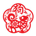 Red Paper Cut Dog Zodiac In Frame And Flower Symbols  Chinese Word Mean Dog Stock Photos - 85195143