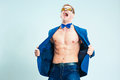 The Portrait Of Emotional Fashion Man With Naked Torso Wearing Butterfly Tie Royalty Free Stock Photo - 85213025