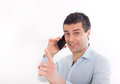 Man With Cell Phone Showing Finger Up Royalty Free Stock Image - 85214046