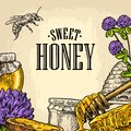 Square Poster With Honey, Honeycomb, Jar, Spoon, Bee. Royalty Free Stock Photo - 85228435