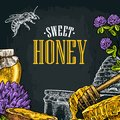 Square Poster With Honey, Honeycomb, Jar, Spoon, Bee. Stock Images - 85228524