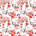Red Chinese Lantern In Spring Pink Flowers - Apple, Plum, Cherry, Sakura And Dancing Crane Birds. Seamless Pattern Stock Image - 85259901