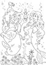 Little Mermaid And Sea Witch Royalty Free Stock Image - 85261636