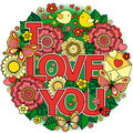 I Love You. Round Abstract Background Made Of Flowers, Cups, Butterflies,  And Birds Royalty Free Stock Photos - 85277678