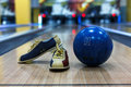 Bowling Ball And Shoes On Lane Background Royalty Free Stock Images - 85277719