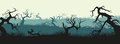 Silhouettes Of Broken Trees And Marsh Grass. Swamp Panorama. Hor Royalty Free Stock Photos - 85281978