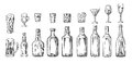 Set Glass And Bottle Beer, Whiskey, Wine, Gin, Rum, Tequila, Cocktail Royalty Free Stock Photo - 85282085