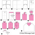 Step By Step Instructions How To Make Origami A Heart Message Card. Stock Photos - 85298353