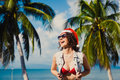 Young Slim Sexy Girl Red Hat Of Santa Claus On Christmas Smartphone Stock Photography - 85298782