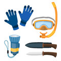 Spearfishing Diving Equipment Vector Set. Royalty Free Stock Photo - 85300065