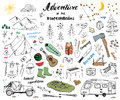 Camping, Hiking Hand Drawn Sketch Doodle Set Vector Illustration With Mountains, Tent, Raft, Grill And Campfire, Axe And Knife, Pi Royalty Free Stock Photos - 85310138