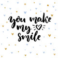 You Make My Heart Smile. Inspirational Saying For Valentine`s Day Card. Typography On Delicate Background With Blue And Stock Photo - 85323990