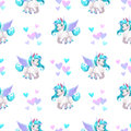 Seamless Pattern With Cute Cartoon Pegasus Stock Photo - 85327210
