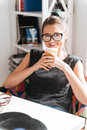 Cheerful Beautiful Young Woman Drinking Coffee And Relaxing At Home Stock Photography - 85329352