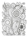 Black-and-white Summer Flowers Isolated On White. Abstract Doodle Background Made Of Flowers  And Butterfly. Vector Coloring Page Stock Photo - 85330110