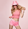 Fashion Model Sexy Girl.Crazy Cheeky Emotion. Pink Stock Photography - 85335162