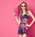 Fashion Woman In Trendy Spring Summer Flower Dress Stock Photo - 85335650