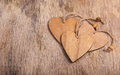 Hearts Made Of Wood In The Old Worn Wooden Background. Wooden Valentine. Valentine`s Day. Copy Space. Stock Photo - 85339830