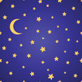 Seamless  Pattern With Yellow Stars, Moon And Night Sky Stock Photos - 85341713