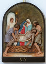 14th Stations Of The Cross, Jesus Is Laid In The Tomb And Covered In Incense Royalty Free Stock Image - 85344036