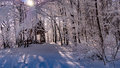 Picnic Shelter In Forest Covered With Snow Stock Image - 85344101