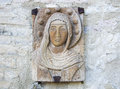 Virgin Mary Carved On Stone. Royalty Free Stock Photos - 85344428