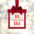 Big, Valentines Day Sale. Red, Square Banner In Form Of Gift. Stock Image - 85349501