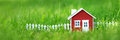 Red Wooden House On The Grass Stock Photos - 85371123