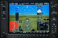 Airplane Glass Cockpit Display With Weather Radar And Engine Gauges Stock Photos - 85371443