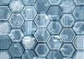 Blockchain Or Digitization Blue And Grey Background With Hexagonal Shaped Pattern Royalty Free Stock Photos - 85379808