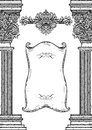 Vintage Architectural Details Design Elements. Antique Baroque Classic Style Column And Cartouche Royalty Free Stock Image - 85396806