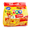 Front View Of Bahlsen Leibniz Zoo Original Butter Biscuits Isolated On White Stock Photos - 85407353