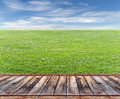 Wooden Terrace With Lawn Royalty Free Stock Photos - 85408098