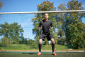 Goalkeeper Or Soccer Player At Football Goal Royalty Free Stock Image - 85423126