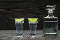 Two Shot Of  Cold Silver  Tequila A Black Wooden Background Royalty Free Stock Image - 85430616