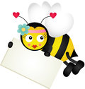 Cute Bee Holding Blank Signboard Stock Photo - 85432290