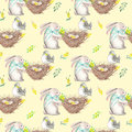Seamless Pattern With Watercolor Easter Rabbits, Nests With Bird Eggs Royalty Free Stock Photos - 85434268
