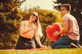 Playful Couple In Park. Stock Photo - 85438020
