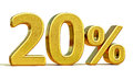 3d Gold 20 Twenty Percent Discount Sign Stock Photography - 85438792