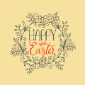 Hand Written Lettering Happy Easter Wreath With Two Birds And Egg. Greeting Card Text Template Stock Photography - 85467352