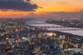 Sunset Sky Over Osaka City And River Aerial View Royalty Free Stock Photo - 85472655