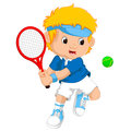 Young Boy Playing Tennis With A Racket Royalty Free Stock Photography - 85475207