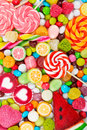 Colorful Lollipops And Candy. Top View. Royalty Free Stock Image - 85491126