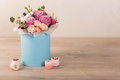 Lovely Bouquet In A Blue Box Royalty Free Stock Image - 85492526